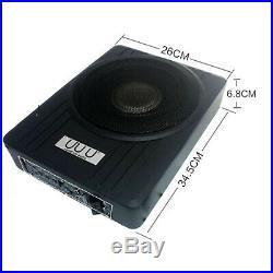 10'' 12V 600W Black Ultra Thin Under Seat Car Active Subwoofer Speaker Amplifier
