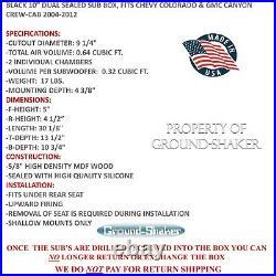 2004-2012 Chevy Colorado Crew-Cab 10 Dual Sealed Sub Box Subwoofer Enclosure