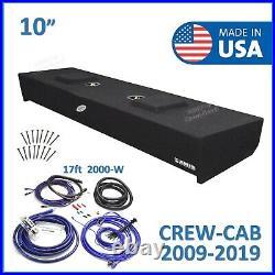 2009-2019 Ford F150 Crew Cab 10 Dual Sub Box Subwoofer Enclosure + 4 Gauge Kit
