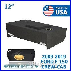 2009-2019 Ford F150 Crew Cab 12 Single Sealed Sub Box Subwoofer Enclosure 12