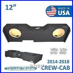 2014-2018 Chevy Silverado Crew Cab Truck Sub Box 12 Dual Subwoofer Enclosure