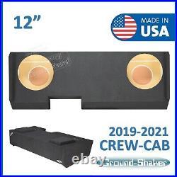 2019-2021 Chevy Silverado Crew Cab Truck Sub Box 12 Dual Subwoofer Enclosure