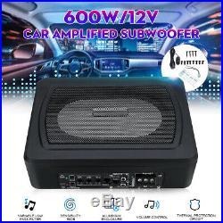 8 600W Car Under-Seat Active Subwoofer Power Amplifier Bass Box Speaker DC 12V