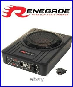8 Active Amp Amplified Under Seat Slim Shallow Sub Subwoofer Bass Box Remote