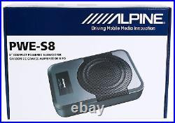 Alpine PWE-S8 Slim Under-Seat 8 120 Watt Powered Active Car Truck Subwoofer Sub