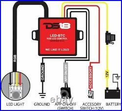 DS18 Under Seat Subwoofer Truck Box Enclosure 6 x 6.5 Subs RGB LED
