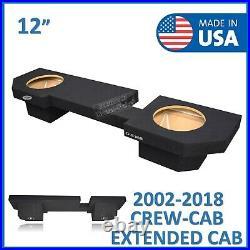Dodge Ram Crew Cab 2002-2018 12 Dual Sub Box Subwoofer Enclosure Ground Shaker