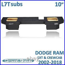 Fits Dodge Ram Quad cab For kicker L7T 10 Dual sub box subwoofer Enclosure
