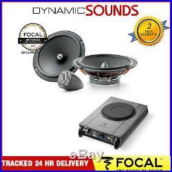 Focal 6.5 2 Way Component Car Door 70W Speakers With Under Seat 8 Subwoofer