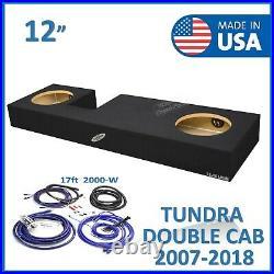 Toyota Tundra Double-Cab 12 Dual Sealed Sub Box Subwoofer Enclosure + Amp Kit
